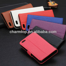 High Quality Litchi Leather Wallet Case For iPhone 5C