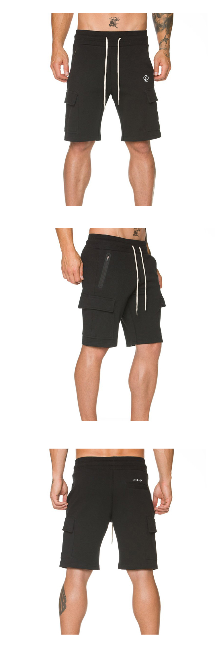 Tech fleece gym shorts zippered cargo pockets 65% cotton 35% polyester sweat shorts