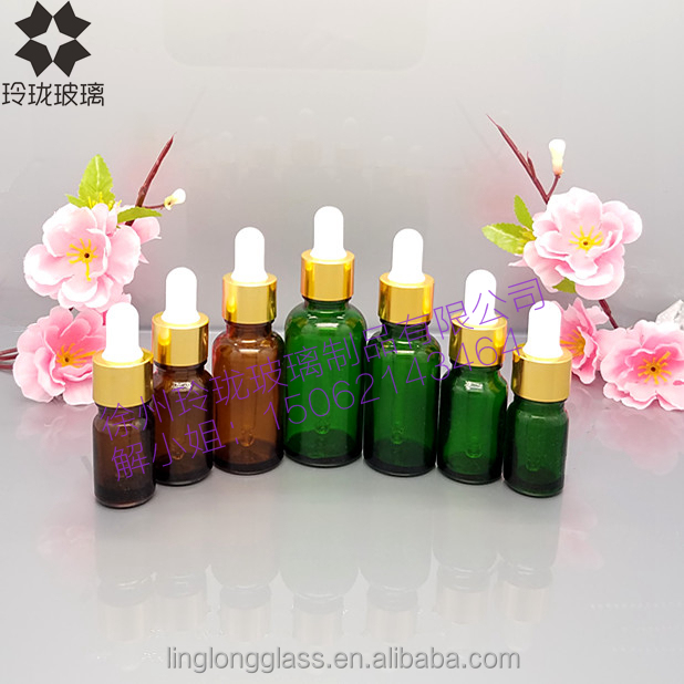 Wholesale OEM green color brown color e liquide essential oil dropper glass bottle