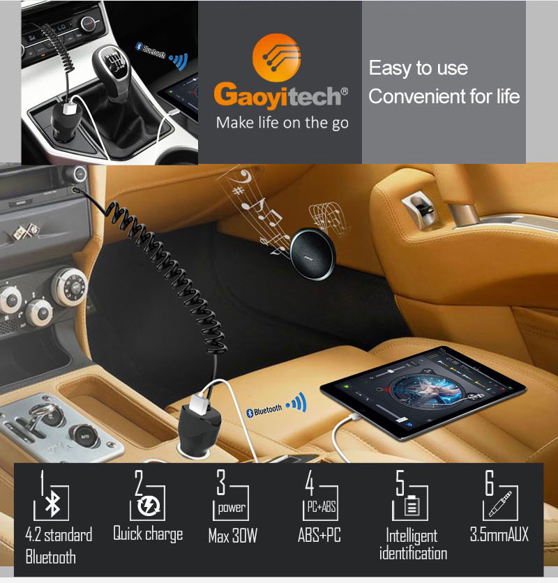 2017 newest product Car charger with Bluetooth & AUX out smartphone car charger