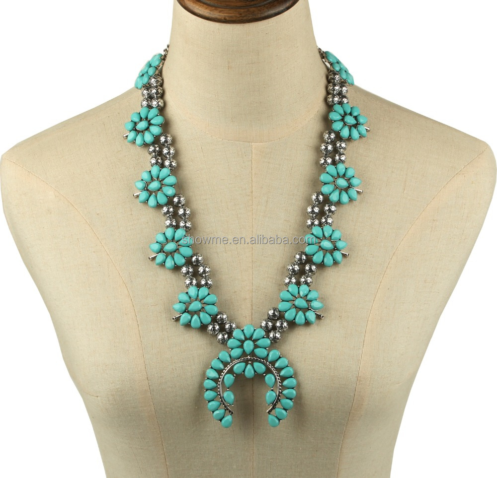 Factory own design bold turquoise squash blossom necklace wholesale latest 2016 hot squash blossom jewelry