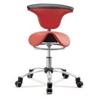 New Red PU Leather Ergonomic Dental Saddle Stool, Leather Saddle Bar Stool, Dental Chair with Back