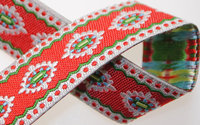 "Scalloped & Dotted Holiday Motif on Red 16mm/ 5/8"" inch wide Grosgrain Ribbon"