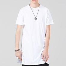 European Fashion Brand Name Mens Clothing Tall Men's Longline Blank Zip Hem t shirt