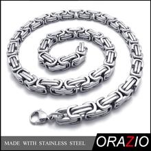 Mens Stainless Steel Necklace, Heavy Wide Cross Links Chain, Silver