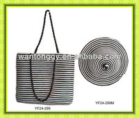 2013 hot sell elegant striped cheap women straw beach bag with hat