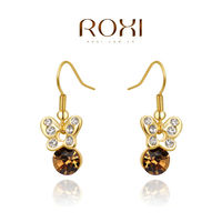 ROXI 14K 18K 24K Gold Plated Champagne Crystal Drop Earrings for Women Jewelry High Polished Earrings
