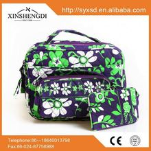 Hot selling floral quilted cotton cosmetic bag,makeup bag with wallet and cellphone bag