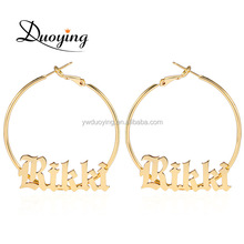 Old English Style A-Z Letters Custom Name 45mm Hoop Earings Cute Copper Jewelry For BFF Woman Christmas Gift