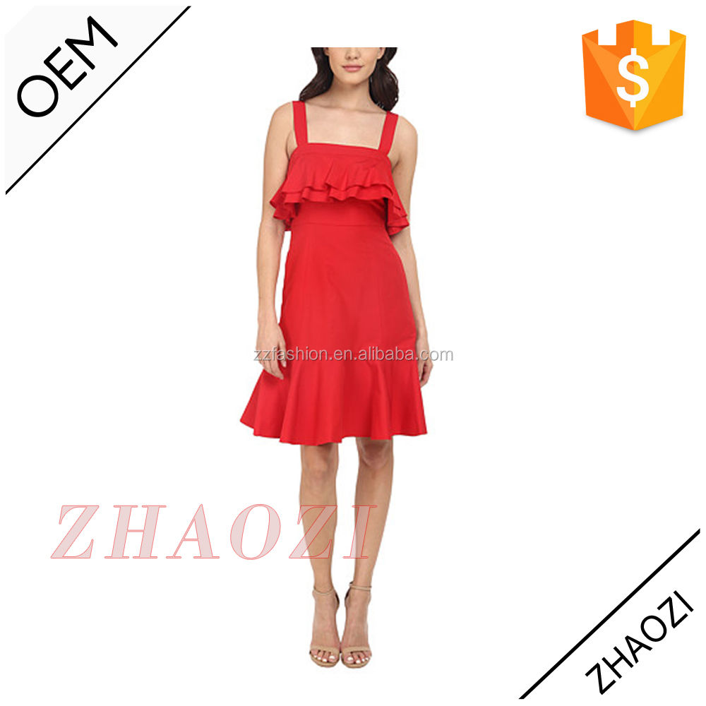 2016 fashion latest pictures of latest gowns designs women red sleeveless short soft silk-cotton short dress