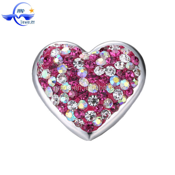Yiwu Wholesale Heart Shaped Charm Alloy Snap Button Clasp For Jewelry Component