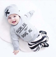Kids Autumn Clothes Baby Clothing Sets Newborn Baby Girl Boy Long Sleeve T shirt+Pant+Hat 3pcs Baby Outfits Set