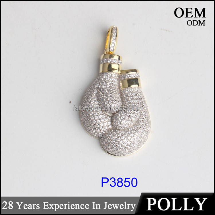 AAA CZ stone pendant micro paved Gloves pendant import jewelry from china