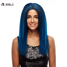 Quality Chinese products long hair length dark blue color silky straight wave lace front wig top synthetic hair piece