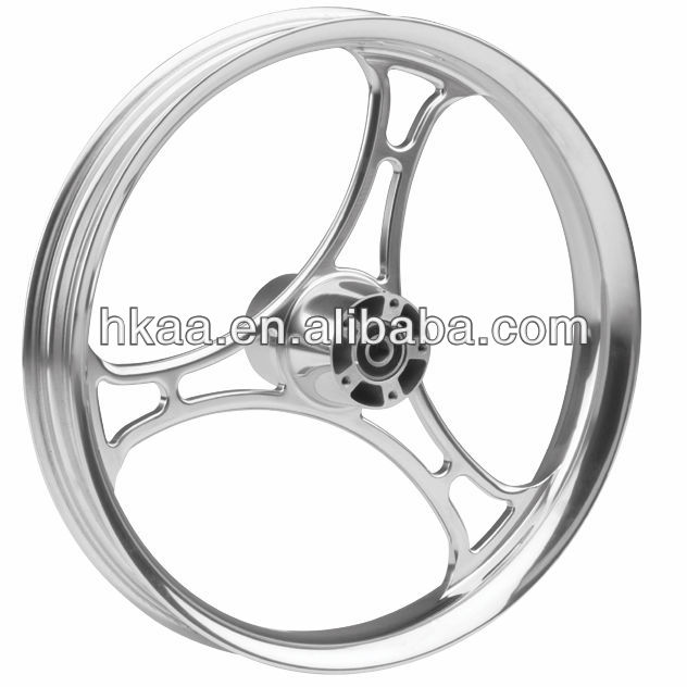 motorcycle three spoke cut custom wheels, aluminum high polished motorcycle wheel rims