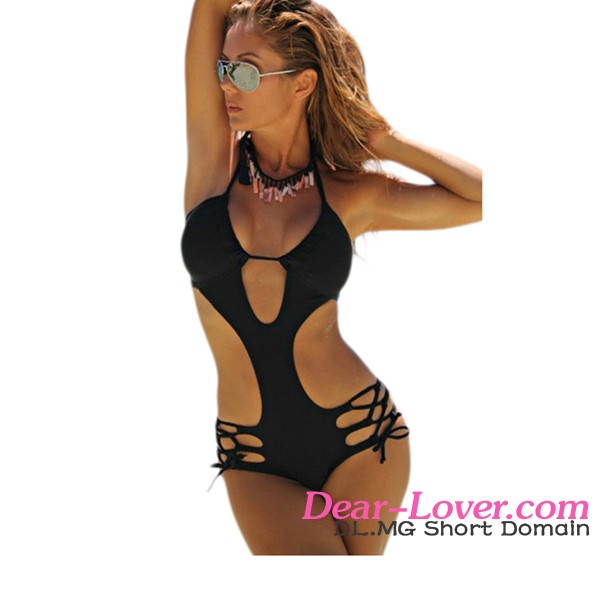 2017 Newly Floral All Over Black Background Strappy Crisscross Cut Out One Piece Sexy Monokini