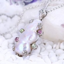 New Design!! Sterling <strong>Silver</strong> 925 With Pearl Shell ,Amethyst,Peridot Gemstone Pendant ,33x18x11mm,10.5g