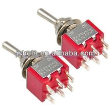 Red Double Pole Double Throw Toggle On-Off Switch 6 Pins Changeover Auto