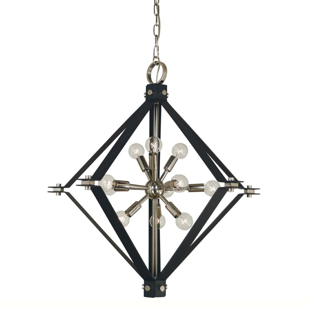 Modern Polished Nickel Matte Black Chandelier