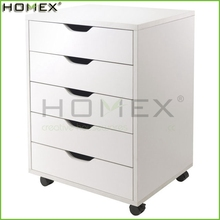 Wooden 5 Drawer Filing Cabinet with Wheels/Office Storage Drawer/Homex_FSC/BSCI Factory
