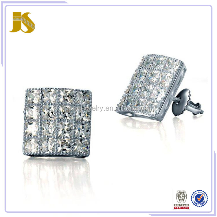 Pave Setting Stud Earrings With CZ