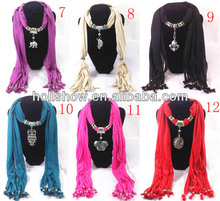 2013 Best Selling Fashion Jeweled Beaded Pendant Scarf