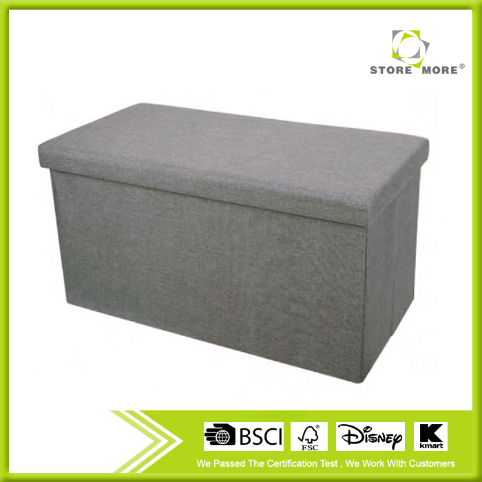 Grey Rectangle Polyester Linen Foldable Shoes Storage Ottoman