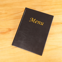 Hot selling wholesale hardcover hot stamping logo pu leather a4 restaurant menu covers 2 pockets file folder