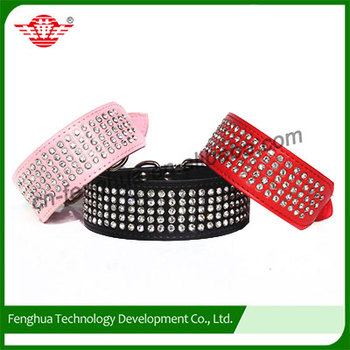 5 rows Crystal Rhinestoned dog collar for large dogs