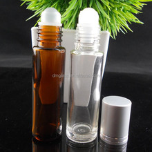 10ml amber/clear glass essential oil bottle with glass roller ball