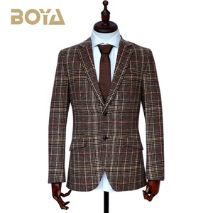 New design checked TR fabric men casual blazer custom tuxedo  suit for online business