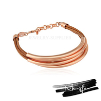 Hot Sale New Design Women Bracelet Cheap Custom cord ,brass tube Bangles
