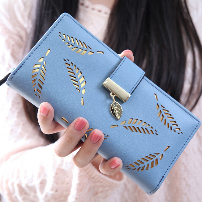 UK Designer Famous Brand Luxury Pu Women Purse Elegant Hollow Blue Ladies Bags and Wallets