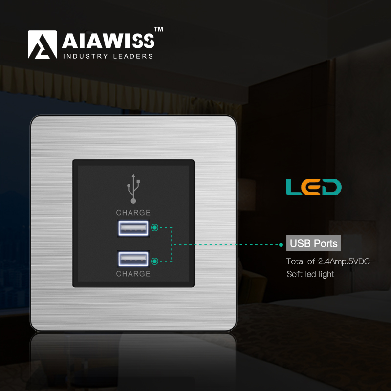 AIAWISS USB Wall Socket UK, Dual 2.4Amp USB charger with soft light.