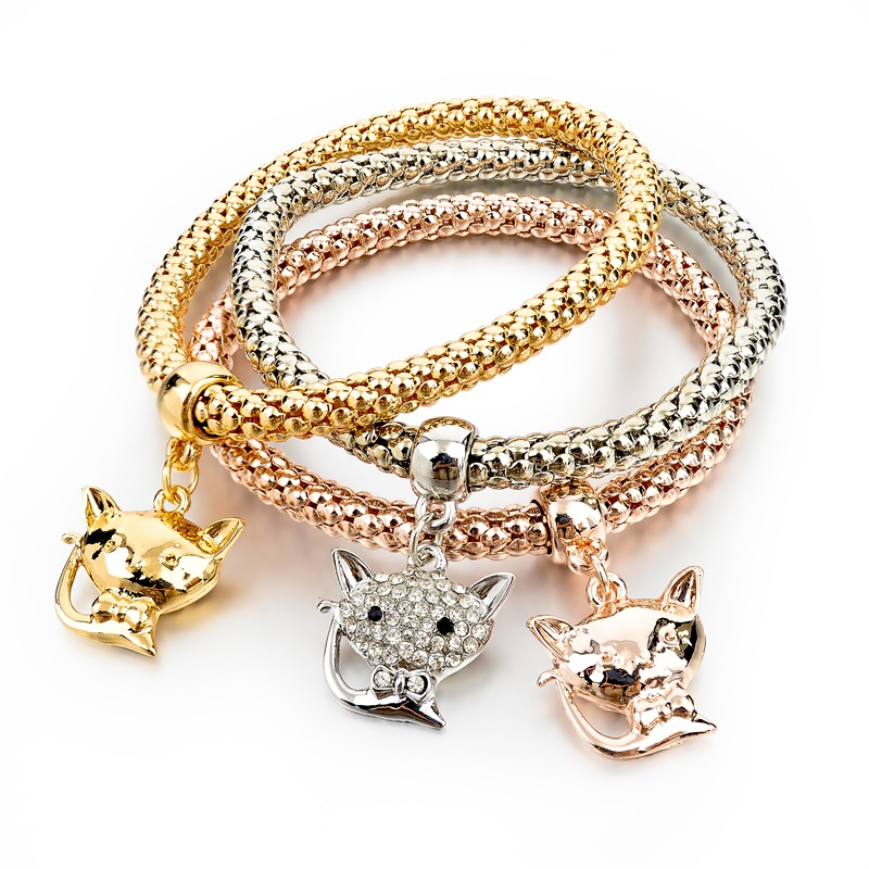 3-pcs Gold Silver Rose Gold Plated Chain Bracelet, Crystal Fox Cat Charm Bracelet for Women
