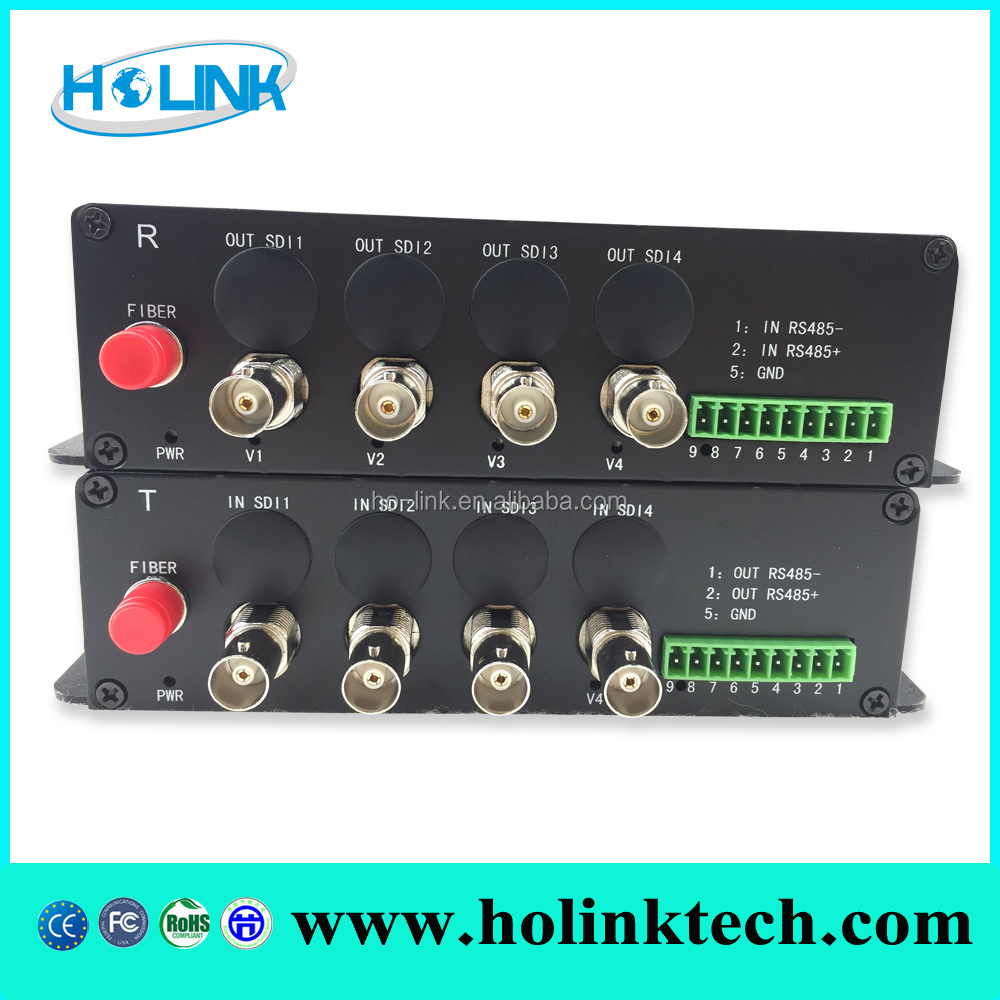 Holink 1/2/4/8 Channels 3G-SDI Video to Fiber Optic Transmission, 10km on SMF, support 1080P@30Hz, 1080P@60Hz