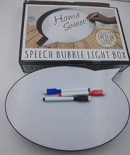 speech bubble LED outdoor lightbox light box with whiteboard pen