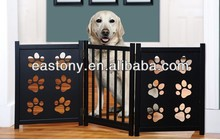 Foldable Three-Panel Wooden Pet Gates with Paw Decor