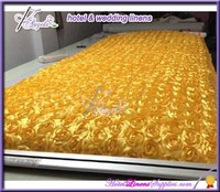 gold stretchable chair covers with satin rosette flowers at back panel for folding chairs, banquet chairs