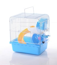 New Design Foldable Higher Two Layers Hamster Cage with Pot and Wheel Blue