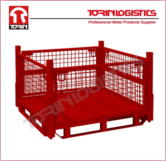 Wire Warehouse Cages/Steel Mesh Stillages/Stackable Metal Bins(L1140*W1140 mm/OEM)