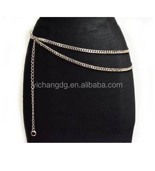 Adjustable Length Double Row Cuban Link Belly Belt Chain