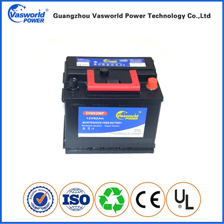 Auto battery manufacture lead acid MF car batteries DIN62 12V 62AH