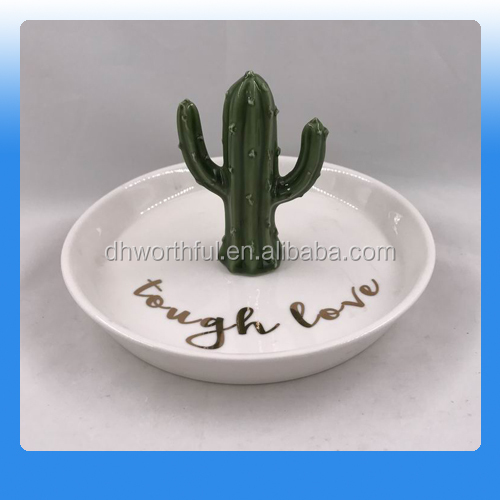 Best selling ceramic cactus jewelry dishes wholesale,Ceramic trinket plate with cactus shape,Cactus ceramic cactus jewelry tray