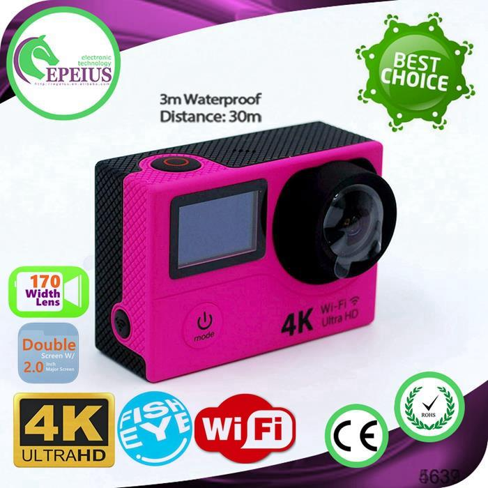 HOT SALES H3 4K WIFI DOUBLE SCREEN ACTION CAMERA lcd olympus digital camera sport dv camera