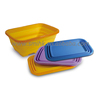 Collapsible Silicone Retangular Basket / Bucket with PP Rack on the Top Rim, Silicone Houseware