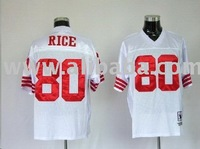 San Francisco 49ers #80 JERRY RICE Throwback white Jerseys solid sewn sz 48 50 52 54 56 60