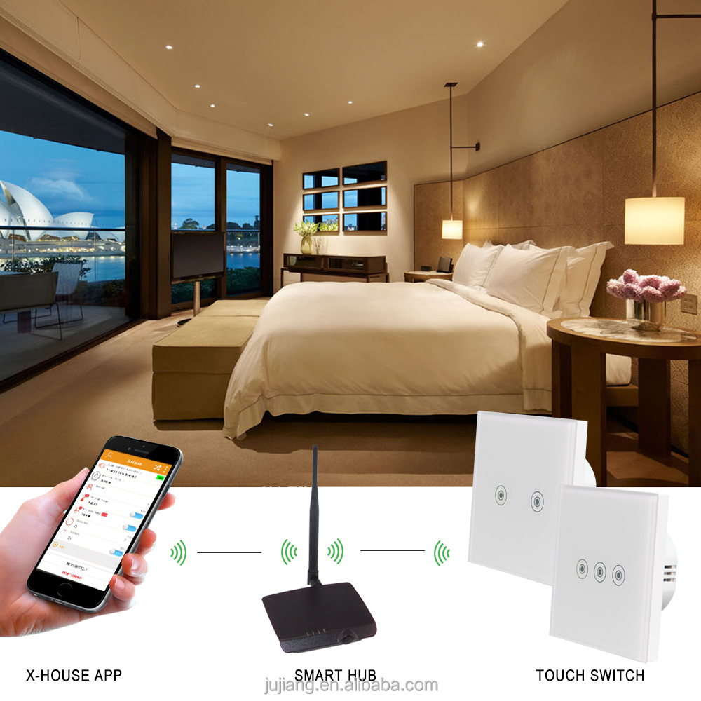 High quality rf 433 remote control smart touch switch for home automation JJ-TSB-03AB