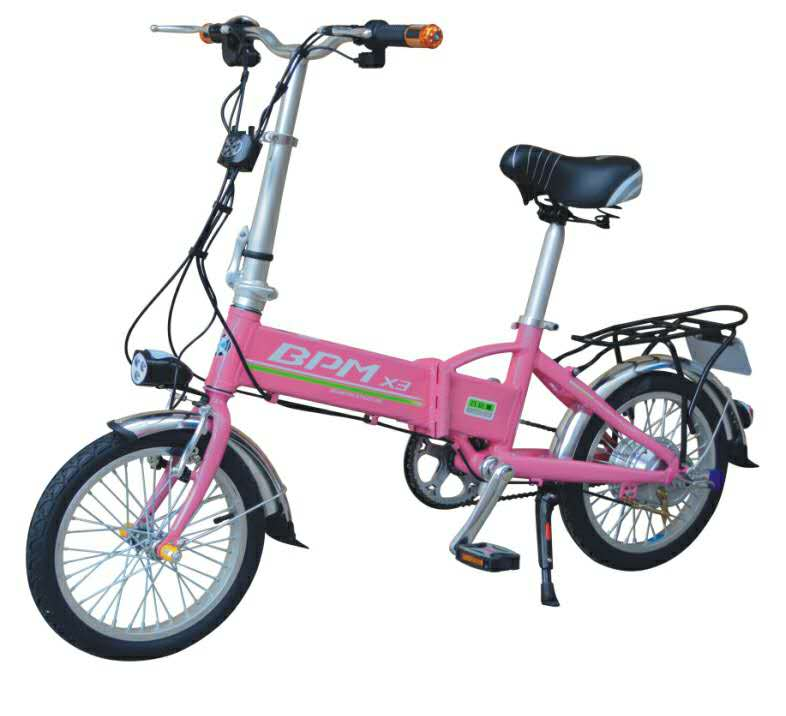 Color Pink 16inch 36V8A 250W Lithium Battery Foldable Electric bike with Pedals