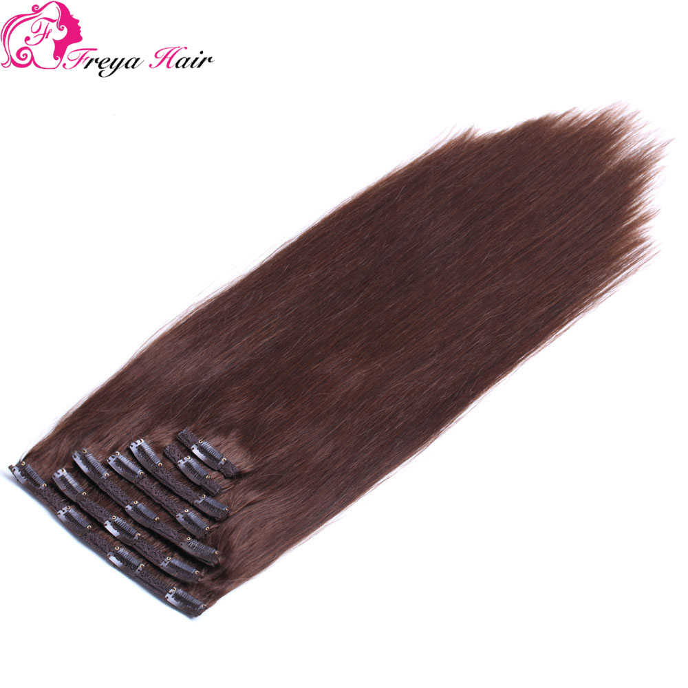 Wholesale brazilian silky straight cheap hair extensions clip in full head